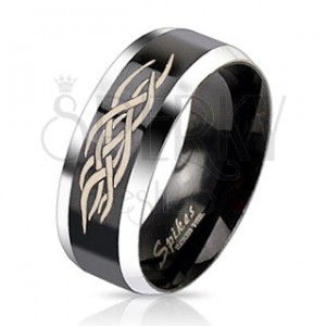 Oceľový prsteň - čierny pás s ornamentom