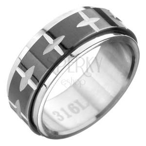 Oceľový prsteň - čierno-strieborná farba, pohyblivý pás so vzorom kríža