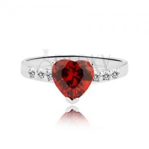 Prsteň zo striebra 925 - červené zirkónové srdce a zirkónová línia