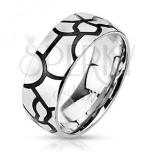 Oceľový prsteň - imitácia čiernych prasklín