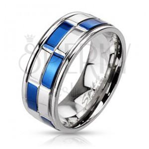 Prsteň z ocele - obrúčka, obdĺžniky modro-striebornej farby