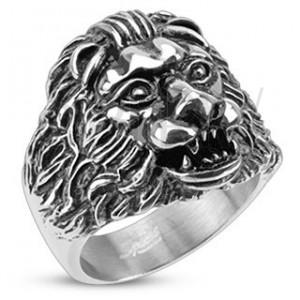 Mohutný oceľový prsteň - levia hlava