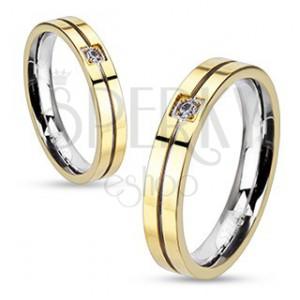 Prsteň z ocele - zlato-strieborná farebná kombinácia so zirkónom