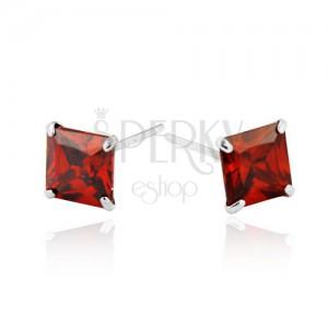 Náušnice zo striebra 925 - červené zirkónové štvorce, 6 mm
