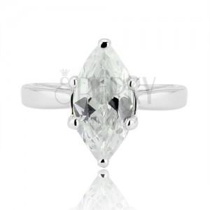 Strieborný prsteň 925 - veľký brúsený zirkón v tvare zrnka