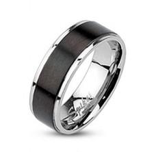 Oceľový prsteň - obrúčka s čiernym matným pásom, 6 mm