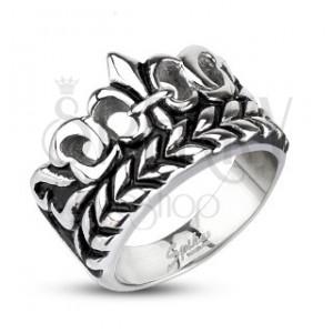 Mohutnejší prsteň z ocele - Fleur de Lis s listami, patinovaný