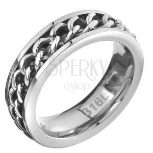 Prsteň z ocele - retiazkový stredový pás, strieborná farba