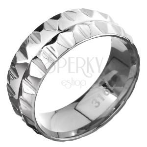 Oceľový prsteň 316L - dva rady pyramídiek