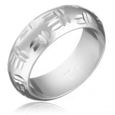 Strieborný prsteň 925 - indiánsky motív, dvojité zárezy