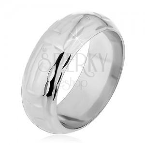 Strieborný prsteň 925 - zárezy v tvare L tvoriace labyrint