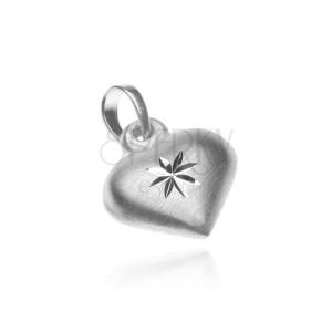 Strieborný prívesok 925 - matné srdce s lesklou hviezdou