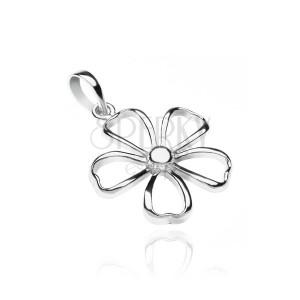 Prívesok zo striebra 925 - lesklý obrys kvetu
