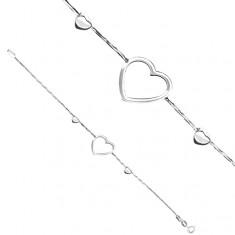 Šperky eshop - Náramok zo striebra 925 - obrysové srdce na hadíkovej retiazke X8.16