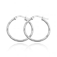 Šperky eshop - Strieborné náušnice 925 - kruhy so skupinkami zárezov, 25 mm X28.5