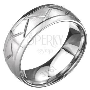 Oceľový prsteň - dve línie a cik-cak vzor, povrch striebornej farby
