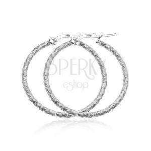 Náušnice zo striebra 925 - kruhy s krátkymi hustými zárezmi, 40 mm