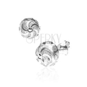 Strieborné puzetové náušnice 925 - špirála s trblietavými kruhmi