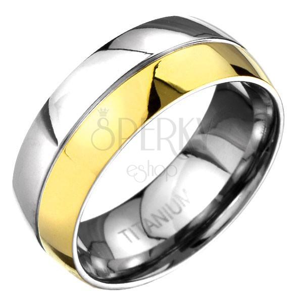 Prsteň z titánu - zlato-striebornej farby zaoblená obrúčka s deliacou ryhou