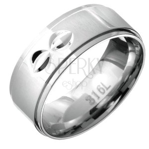 Prsteň z ocele - vystúpený stred s dvojitými polmesiačikovitými zárezmi