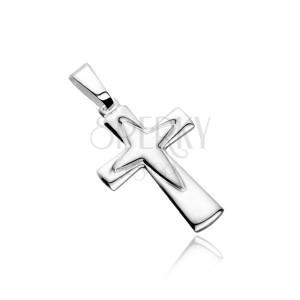 Strieborný prívesok 925 - kríž s obrysom špicatého kríža uprostred