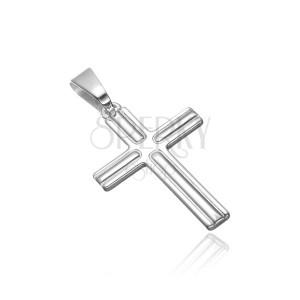 Prívesok zo striebra 925 - kríž s vrúbkami na cípoch