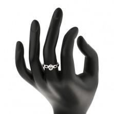 Strieborný prsteň 925 - oválny číry zirkón, ramená so slzičkami