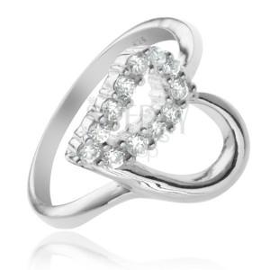 Strieborný prsteň 925 - kontúra srdca, číra zirkónová polovica
