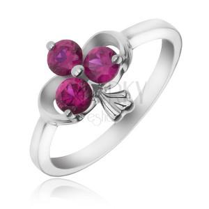 Strieborný prsteň 925 - stuha a zirkónový trojlist fuksiovej farby