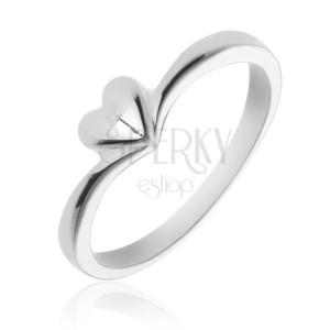Jednoduchý strieborný prsteň 925 so srdiečkom
