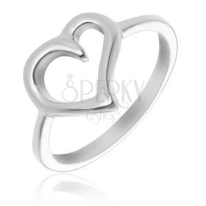 Prsteň zo striebra 925 - obrys nepravidelného srdca