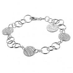 Šperky eshop - Strieborný náramok 925 - kruhové prívesky so vzorom tigra X45.1