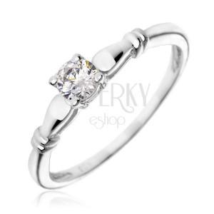 Strieborný zásnubný prsteň 925 - číry zirkón, dvojité prstence