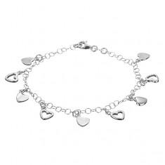 Šperky eshop - Retiazka na ruku zo striebra 925 - plné a prázdne srdiečkové prívesky X24.12