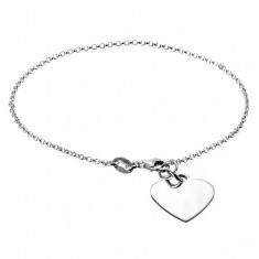 Šperky eshop - Strieborná retiazka 925 na ruku s plochým srdcom a karabínkou X41.10