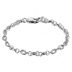 Šperky eshop - Strieborný náramok 925 - dvojité ovály a dva krúžky X14.6