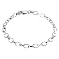 Šperky eshop - Náramok zo striebra 925 - retiazka z vrúbkovaných a lesklých očiek X38.10