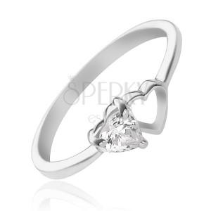 Strieborný prsteň 925 - prázdne a zirkónové srdiečko