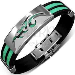 Gumený náramok - zelenočierny, grécky kľúč, tribal na kovovej známke