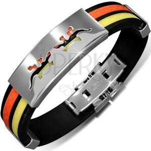 Náramok z gumy - čierny s oranžovým a žltým pásom, známka s jaštericami