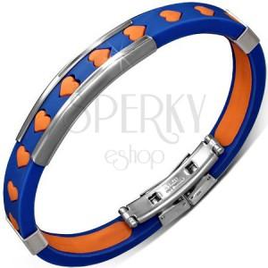 Náramok z gumy - modrý s oranžovými srdiečkami a kovovými ozdobami