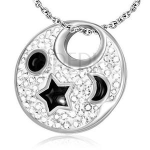 Oceľový prívesok - biely kruh s čiernymi hviezdami a mesiacom