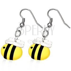 Fimo náušnice - včielka s trblietavými krídlami
