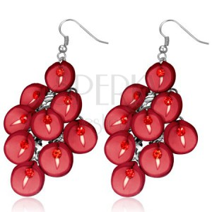 FIMO náušnice - visiaci strapec červených kvetov kaly
