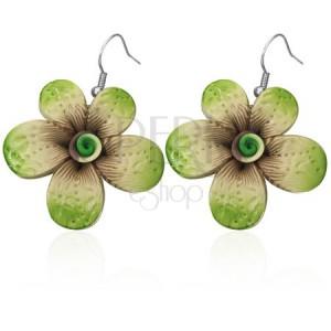 Fimo náušnice - zelený kvet s potlačou, špirála v strede