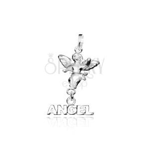 Strieborný prívesok 925 - malý anjelik s nápisom ANGEL