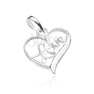 Prívesok zo striebra 925 - nápis LOVE vo vnútri srdca