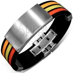 Čierny gumový náramok s farebnými pásmi a lesklými známkami
