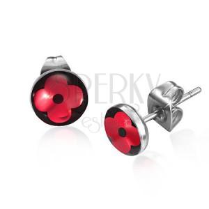 Oceľové puzetové náušnice - kruh s lesklým červeným kvetom