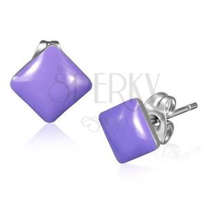 Náušničky z nehrdzavejúcej ocele - fialové pastelové štvorce